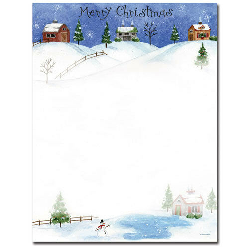 25 or 80pk Folk Art Village Christmas Letterhead