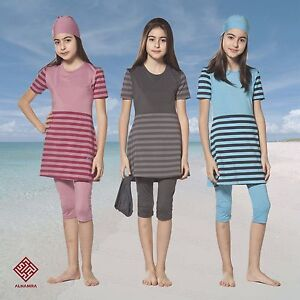AlHamra-Teenage-Girls-Stripes-Modest-Burkini-Swimwear-Swimsuit-Muslim-Age-11-16