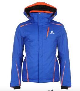 Details about Salomon Mens Ski Jacket Rise Blue Orange Size S New with Tags show original title