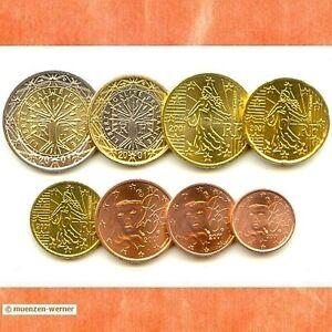 Kursmuenzensatz-Frankreich-2001-1c-2-Euro-Muenze-KMS-alle-8-Muenzen-Satz-Eurosatz