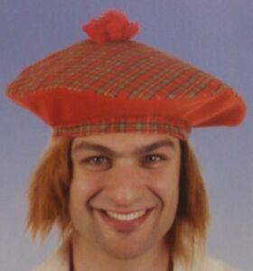 Mens Tam O Shanter Hat with Fur Hair Scottish Scotsman Fancy Dress ... 772577f1010