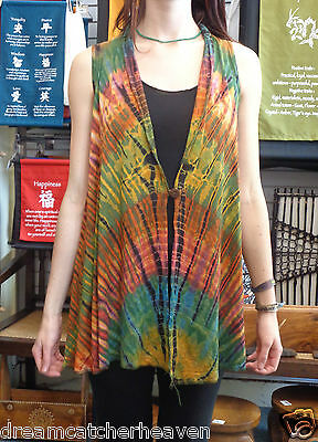 Beautiful Long Tie Dye Button-Up Vest FREE SIZE RRP $74.99 Wholesale Store
