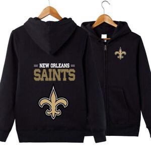 Details About New Orleans Saints Football Hoodie Men Jacket Full Zip Up Sweatshirts Warm Coat