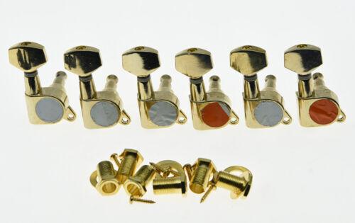 KAISH 6x Inline Tuning Keys Guitar Tuners Machine Heads Chrome Chrome//Black//Gold