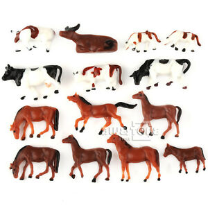 20PCS Mixed HO Scale Model 1:87 Train Layout Painted Animal Figures Horse + Cow