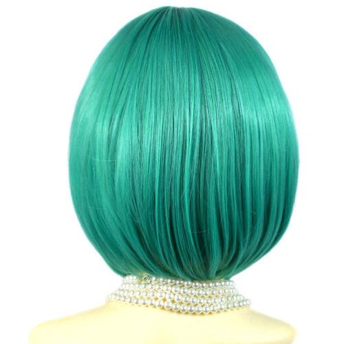 Verde Wiwigs Silky Breve Bob Neve Bianco Auburn Borgogna Pelle Top Parrucche Blu Nero