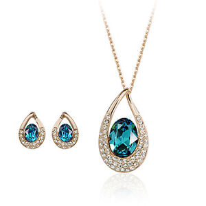 18K-ROSE-GOLD-PLATED-AND-GENUINE-AUSTRIAN-CRYSTAL-NECKLACE-AND-EARRING-SET