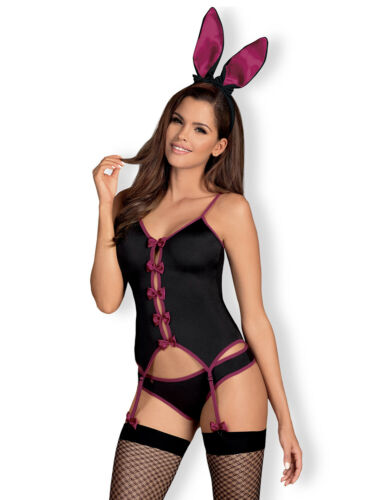 Ears and Matching Brief Set OBSESSIVE Bunny Luxury Corset Fishnet Stockings