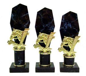 3er Serie Pokale Pferd (636-PF) schwarz-gold Höhe=26-24cm m.Gravur 32,95 EUR