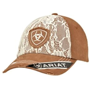 Ariat Western Womens Hat Baseball Cap Lace Overlay Adjustable Brown ... a619837f0a9