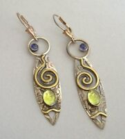 Mixed Metal Abstract Earrings Peridot Lolite Pierced Handmade Copper Unique Gift
