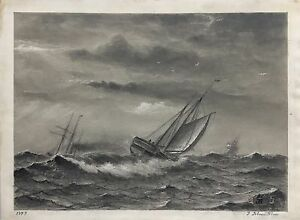 SEGELSCHIFFE-IM-STURM-1879-JACOB-H-ISBRANDTSEN-USA-ANTIQUE-MARINE-PAINTING