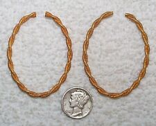 VINTAGE SOLID BRASS TEXTURED WOVEN WIRE HOOP JEWELRY FINDINGS 12 PIECES