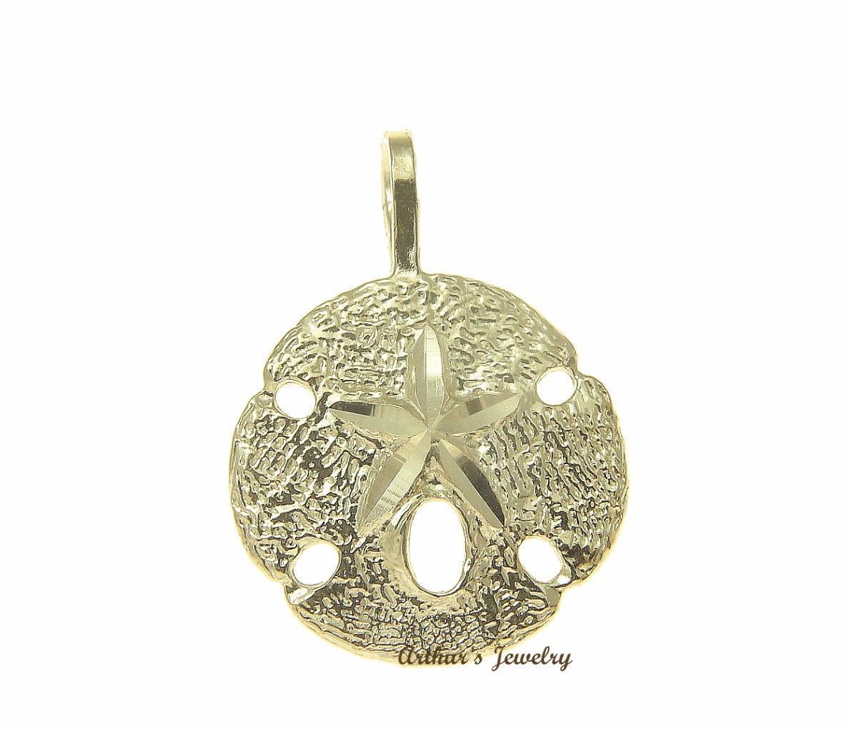 14K oro Giallo Hawaiano Sabbia Dollaro Taglio Taglio Taglio Diamante Oceano Starfish Ciondolo fffbb7
