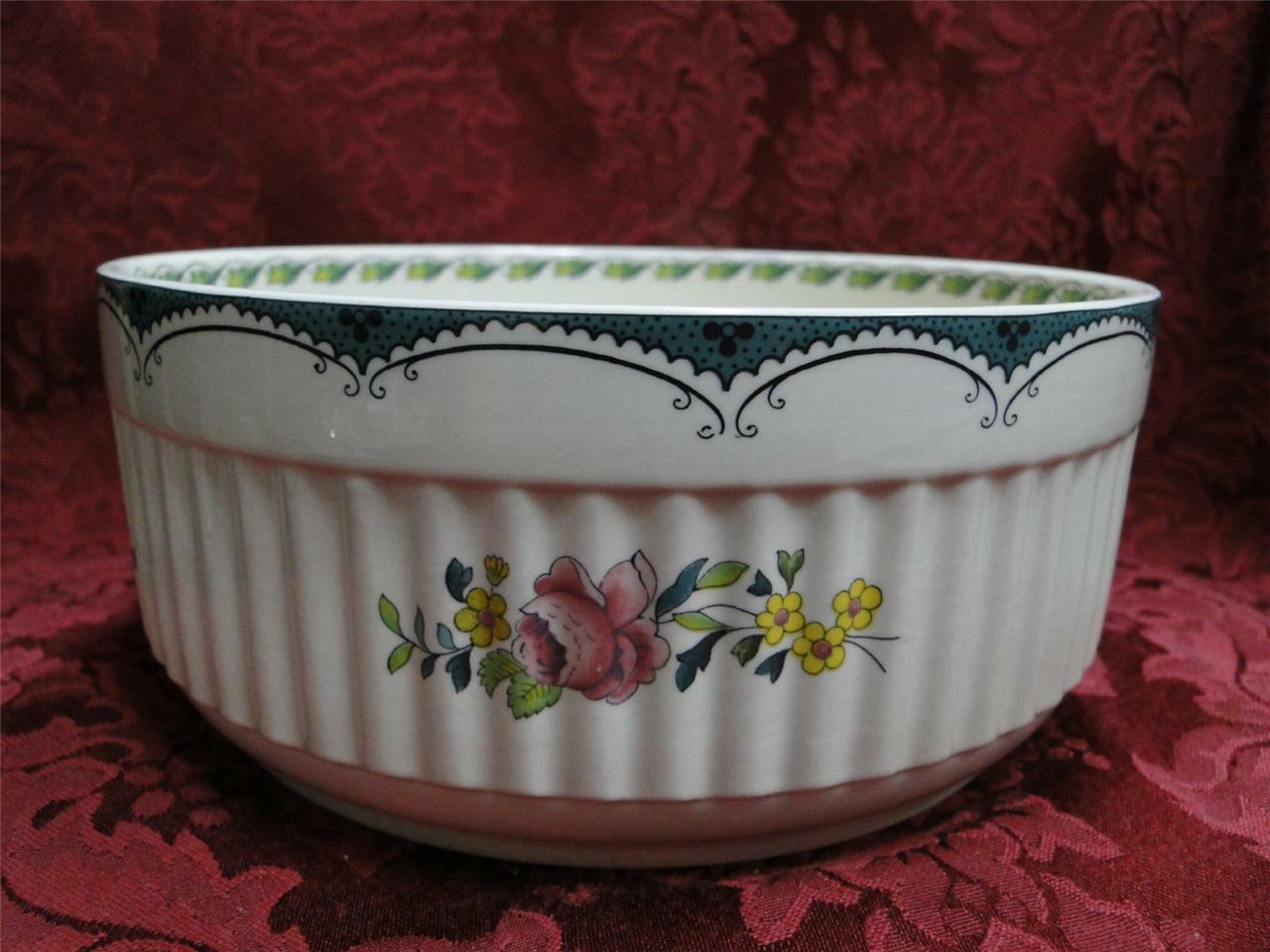 Spode Avondale Teal, Basket of Flowers  Souffle Dish, 7.25  x 3