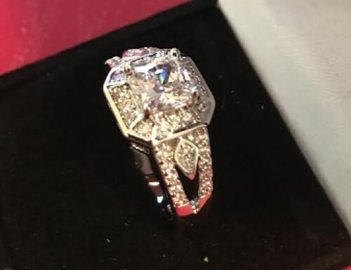 Stamped 18K Gold Plated 2 CT Simulated Moissanite Engagement Ring