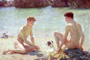 CXJPT712-two-young-nude-naked-man-bathe-by-beach-art-oil-painting-on-canvas