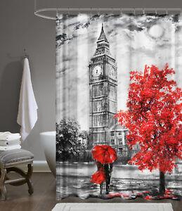 Stampa-Digitale-Tessuto-Tenda-240x200-cm-Big-Ben-Londra-Vasca-da-Bagno-Anelli