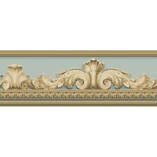 Wallpaper Border Designer Aqua Cream Tan Beige  Architectural Faux Molding
