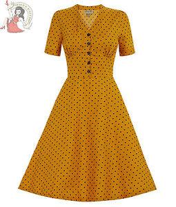 LINDY-BOP-50-039-s-IONIA-tea-POLKA-DOT-vintage-style-DRESS-MUSTARD