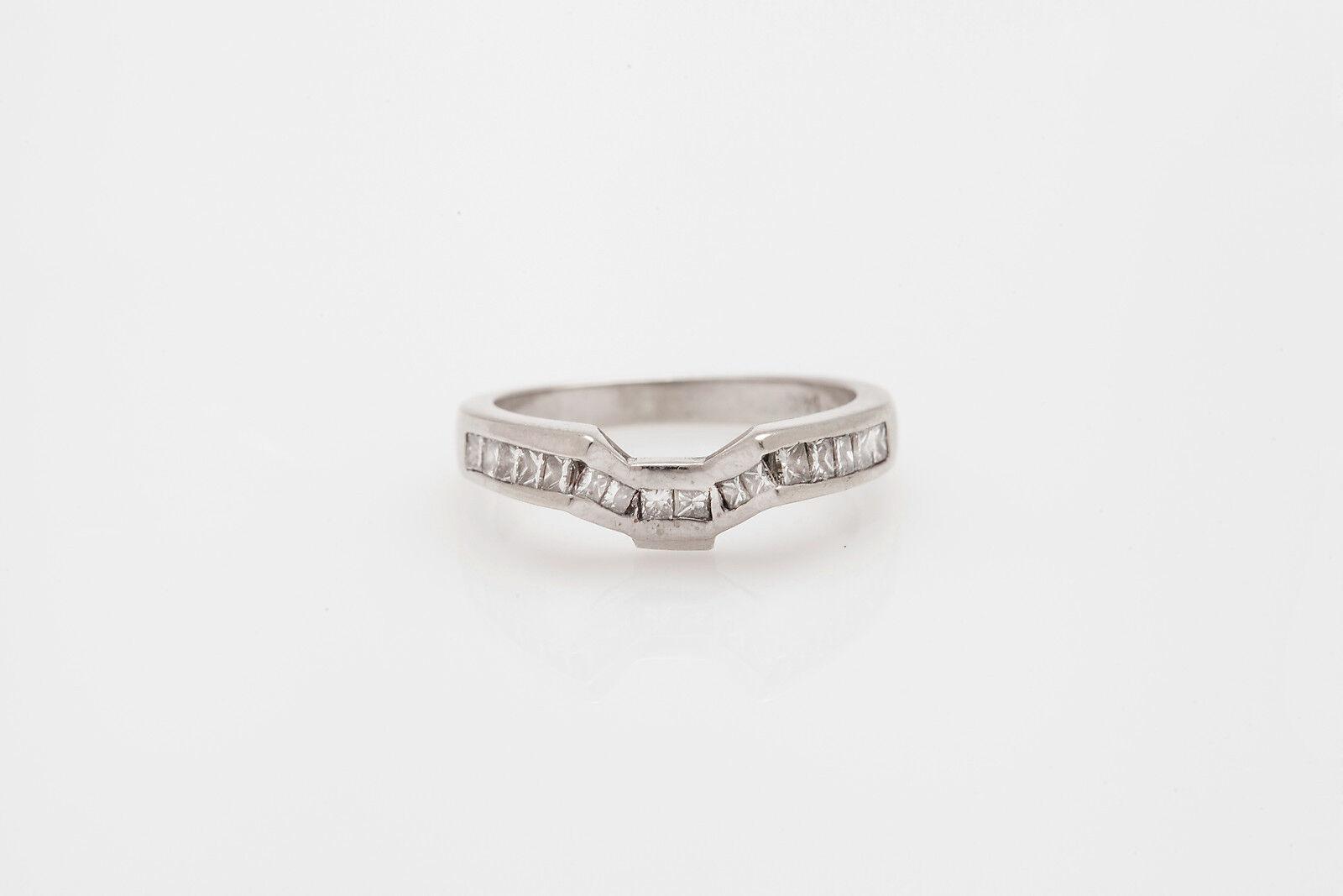 Estate  2000 .75ct Princess Cut Diamond 14k White gold Wedding Ring GUARD WRAP