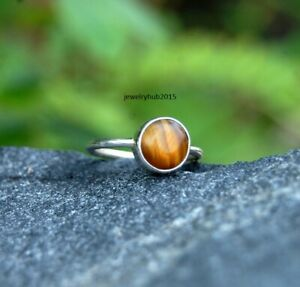 Solid-925-Sterling-Silver-Ring-Delicate-Silver-Ring-Handmade-Tiger-Stone-Ring