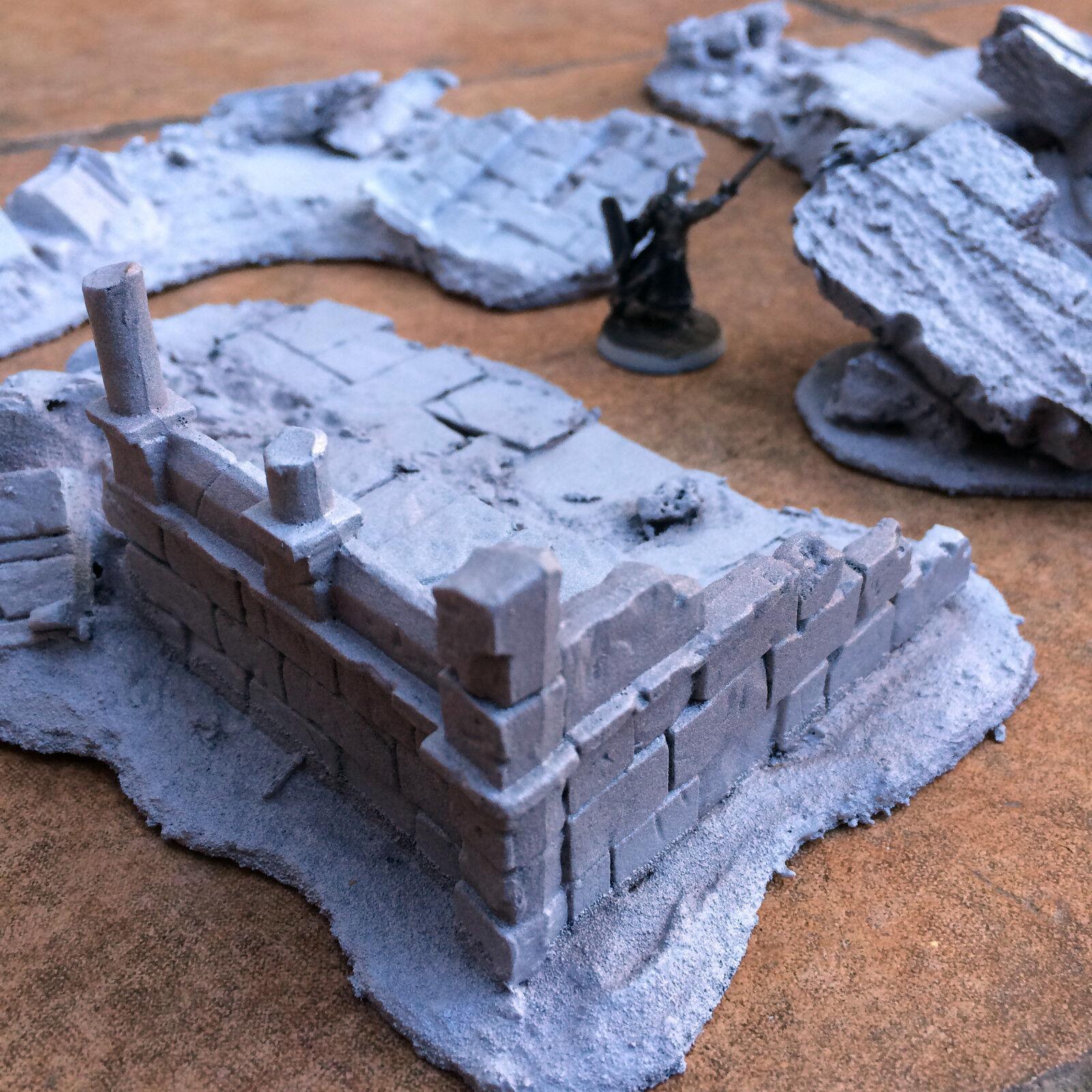 LOTR scenery - 4 x handmade ruins (LOT 3) - Osgiliath   Gondor terrain 28mm