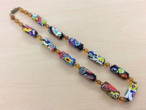 Antique Millefiori Gl Bead Necklace