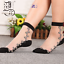Women-Transparent-Thin-Roses-Flower-Lace-Socks-Crystal-Glass-Silk-Short-Socks miniature 3