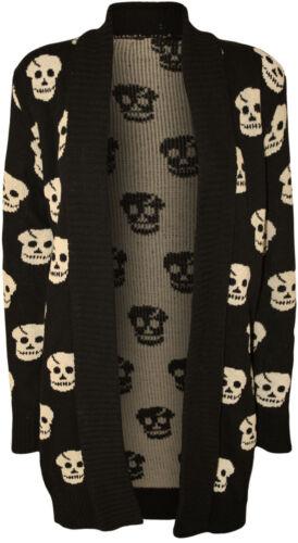 Nouveau Débardeur Crâne à Manches Longues Imprimé Tricot Femmes Plus Taille Cardigan 8-24