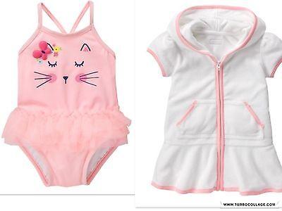 Girls' Clothing (newborn-5t) Swimwear New Gymboree Baby Rosebud Kitty Swimsuit And Coverup 12-18 Months