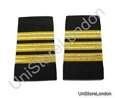 Epaulet Pilot Epaulette Sliders 3 Gold Mylar Bars First Officer Black R1292