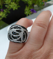 Charles Winston Sterling Silver Black & White Cz Swirl Ring