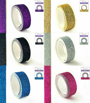 GLITTER TAPE COLOUR CHOICE of BLACK, PURPLE, GOLD, CHAMPAGNE, MAGENTA, TURQUOISE