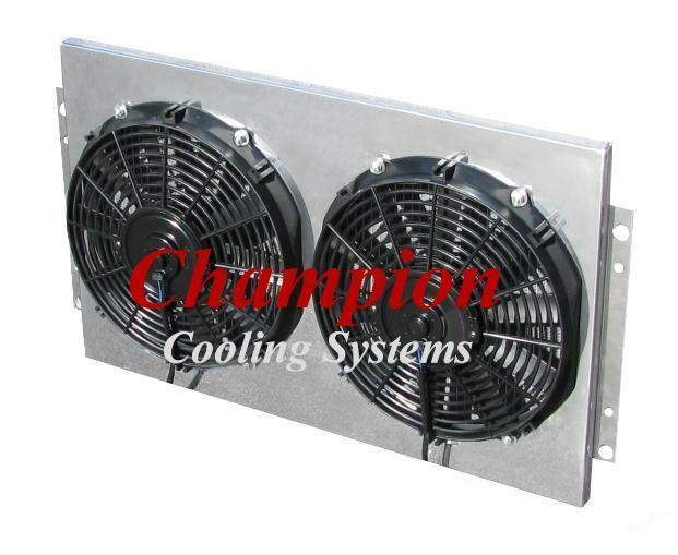 "22 Inch Core Early Mopar Aluminum Radiator Fan Shroud & 10"" Fans-15 7/8""H x 21 1"