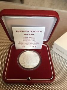 Coffret BE rare 10 euros argent Monaco 2011 Mariage princier.
