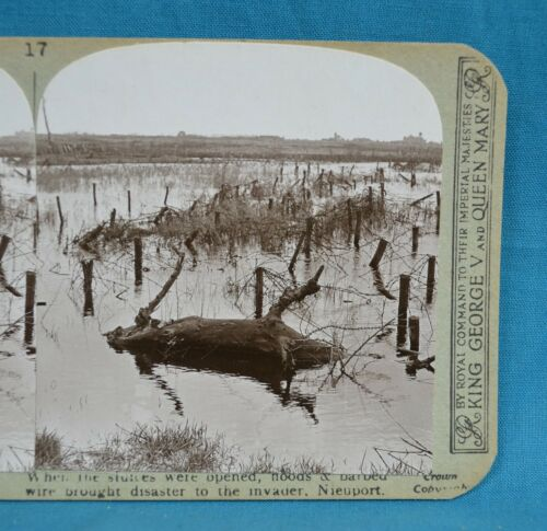 WW1 Stereoview Photo German Floods & Barbed Wire Nieuport Open Sluices Realistic