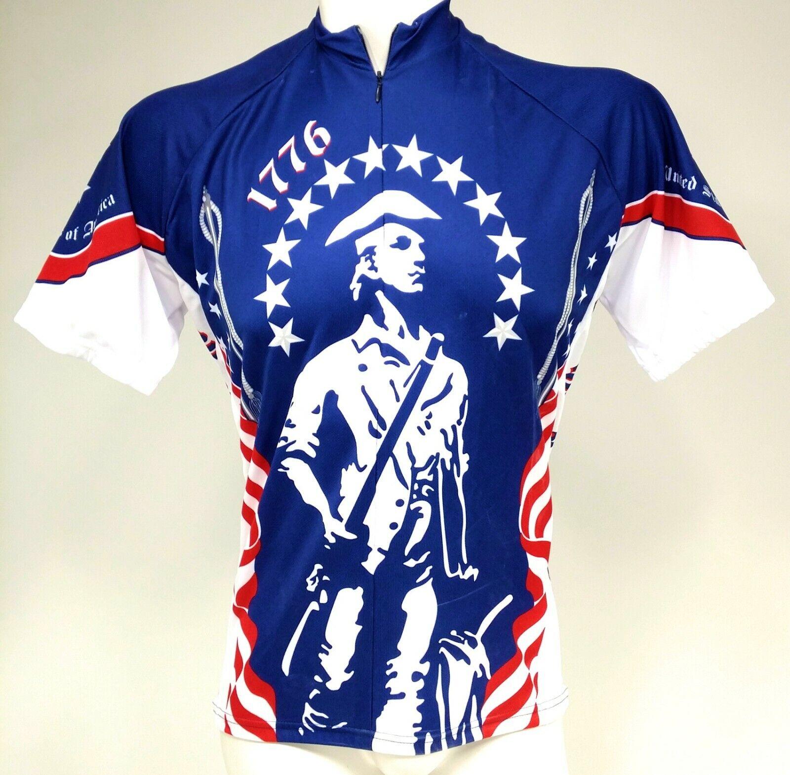 World Jerseys 1776 Mens Cycling Jersey Blue/white Large Bike
