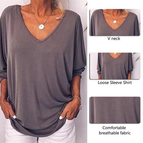 Frauen Casual Fledermaus Blusen Oberteile V-Ausschnitt Shirt Lässig Tunika Mode