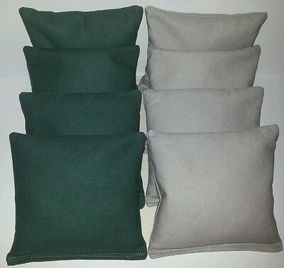 SET OF 8 ALL WEATHER GRAY & HUNTER GREEN CORNHOLE BEAN BAGS FREE SHIPPING!!