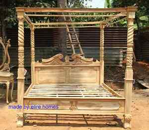 Details About Rustic Look Teak Wooden Natural Four Poster Canopy Designer Queen Anne Bed