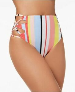 Bar-III-Medium-White-Bold-Stripe-High-Waist-Lace-Up-Sides-Swimsuit-Bottoms-M-NWT