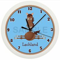 Blue Horse Nursery Wall Clock Personalized Boys Room Gift Pony Shower Decor Farm