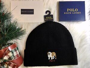NEW-Men-039-s-Polo-Ralph-Lauren-Black-Bulldog-Beanie-with-TAGs