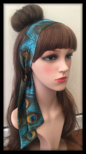 Peacock Headband Hairband Bandana Neck Scarf Hair Tie Band Silky Satin Fabric