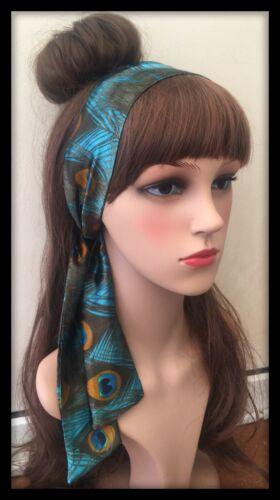 Peacock Headband Hairband Bandana Neck Scarf Hair Tie Band Silky Satin Fabric