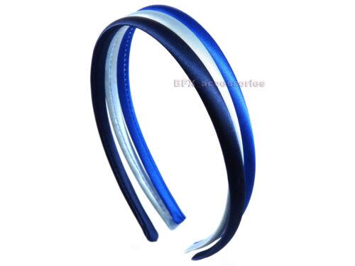 Set of 3 Plain SATIN ALICE BAND headband fabric hair bands school colours
