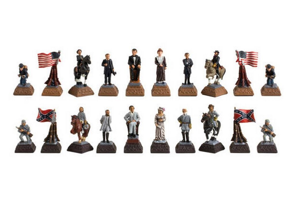 American Civil War Poly Resin Chessmen Pieces Figures 2 3 8  King New