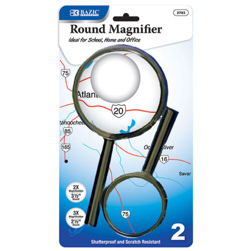 New (2/Pack) 3.5 & 2.5 Round Handheld Magnifier Sets, Teachers Magnifier