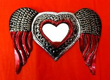 Authentic Mexican Tin Folk Art Flaming Heart w/ Wings Milagro Mirror Decoration
